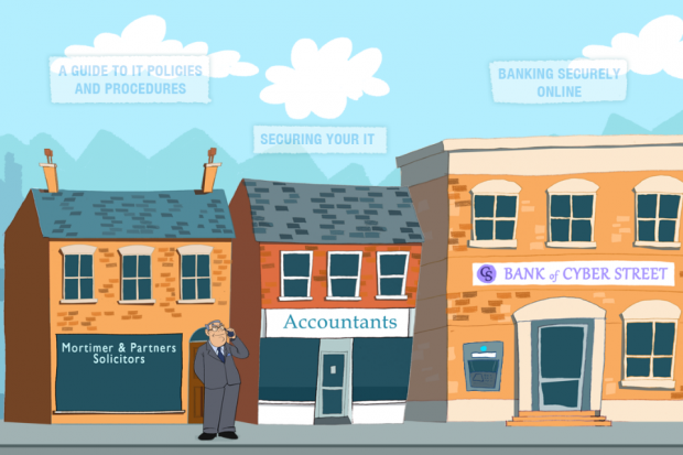 street picture showing pic of bank, Accountants & Solicitors offices