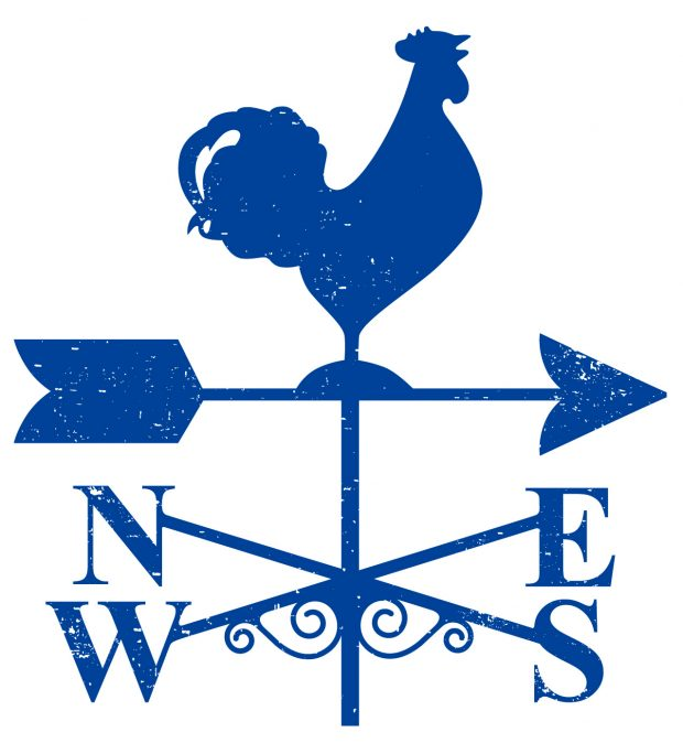 Weathervane showing North South East and West