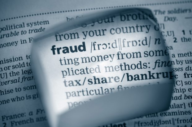The word fraud highlighted in a document