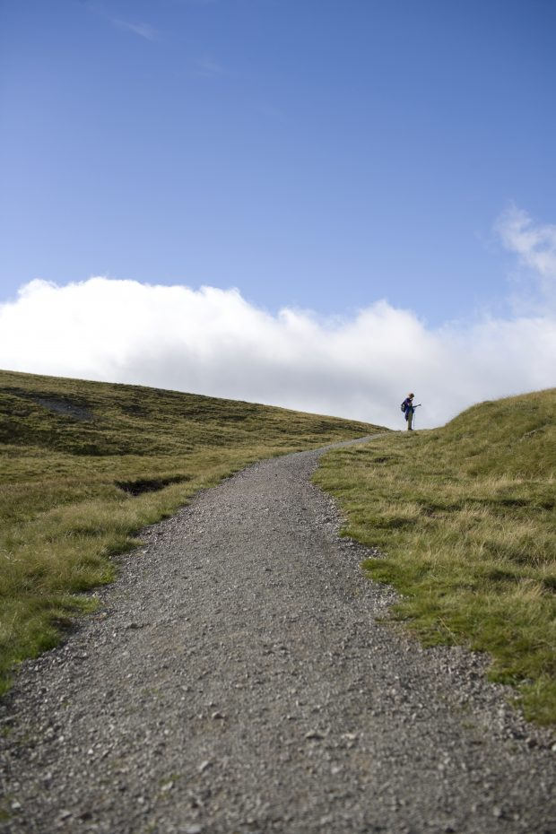 Man in a distance looking at map on a hillside path