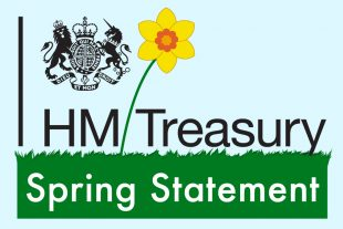 HM Treasury crest with an image of a daffodil growing out of  grass against blue background