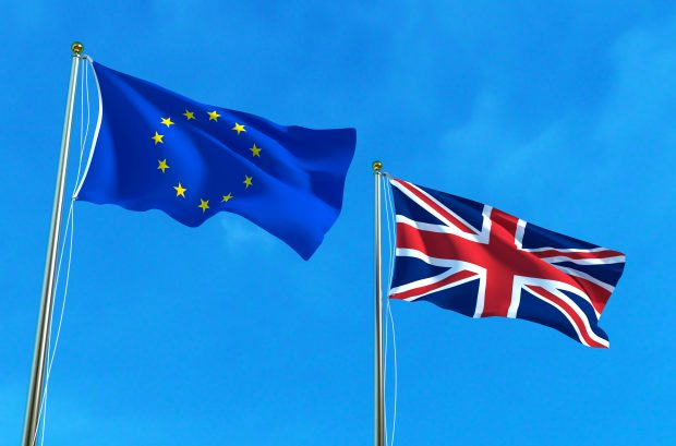 EU and UK flags flying against a blue sky